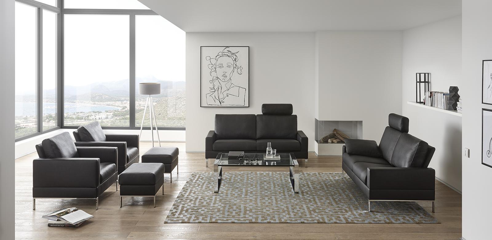designsofa monza das edle ledersofa von erpo. Black Bedroom Furniture Sets. Home Design Ideas